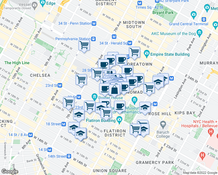 map of restaurants, bars, coffee shops, grocery stores, and more near 37 West 26th Street in New York
