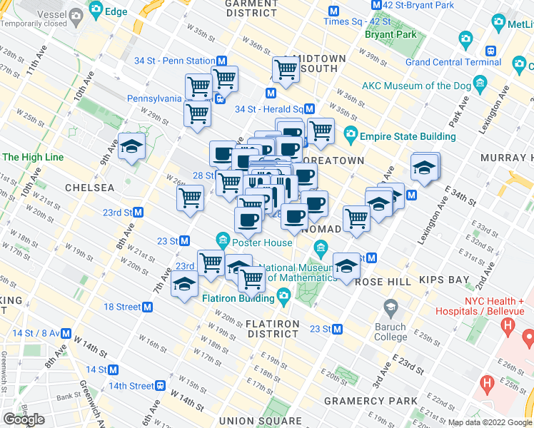 map of restaurants, bars, coffee shops, grocery stores, and more near 70 W 27th St in New York