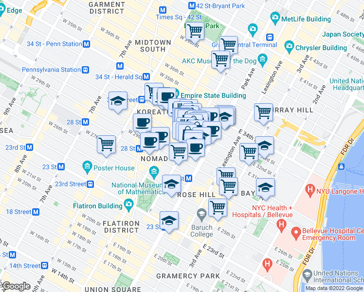 map of restaurants, bars, coffee shops, grocery stores, and more near 19 East 31st Street in New York
