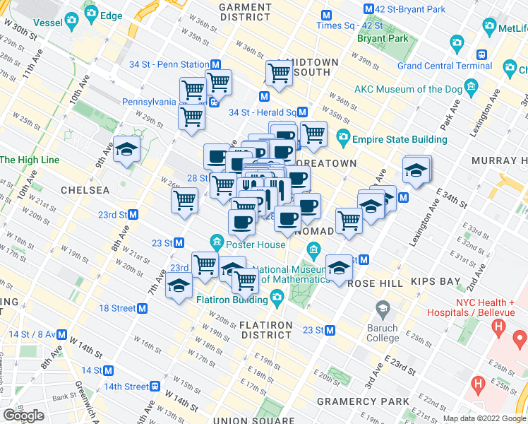 map of restaurants, bars, coffee shops, grocery stores, and more near 800 6th Avenue in New York