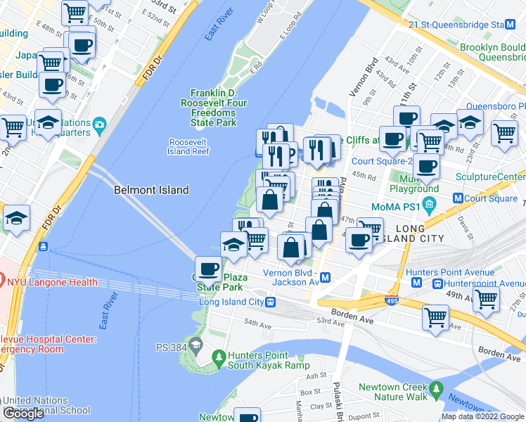 map of restaurants, bars, coffee shops, grocery stores, and more near 4-85 47th Road in Queens