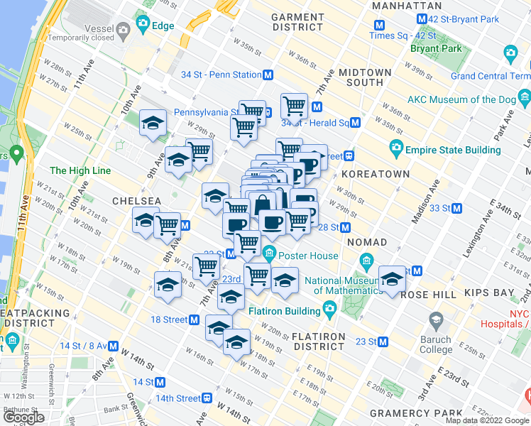 map of restaurants, bars, coffee shops, grocery stores, and more near 165 West 26th Street in New York