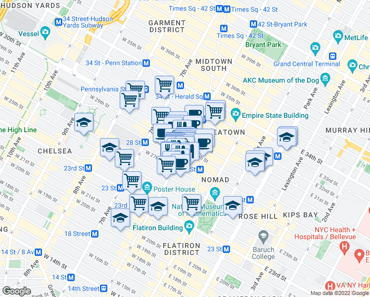 map of restaurants, bars, coffee shops, grocery stores, and more near 6th Ave & W 29th St in New York