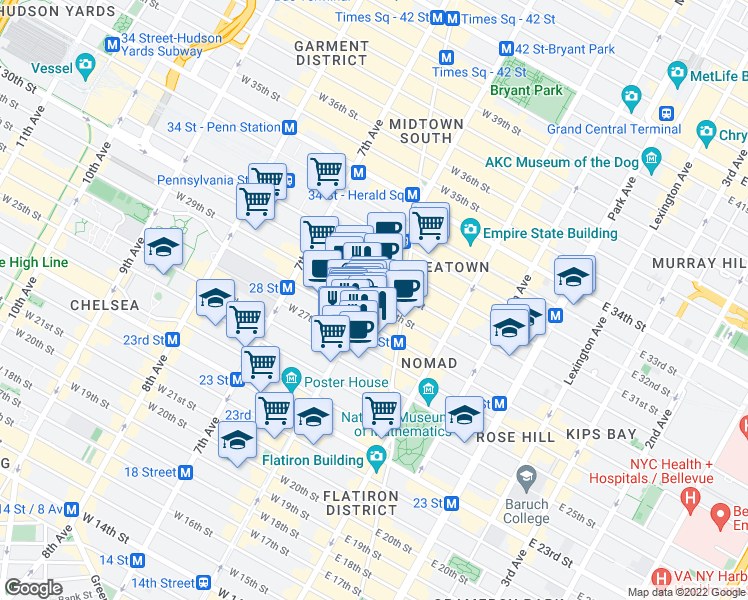 map of restaurants, bars, coffee shops, grocery stores, and more near 812 6th Avenue in New York