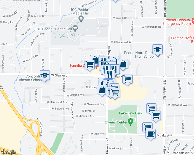 map of restaurants, bars, coffee shops, grocery stores, and more near 1412 West Glen Avenue in Peoria