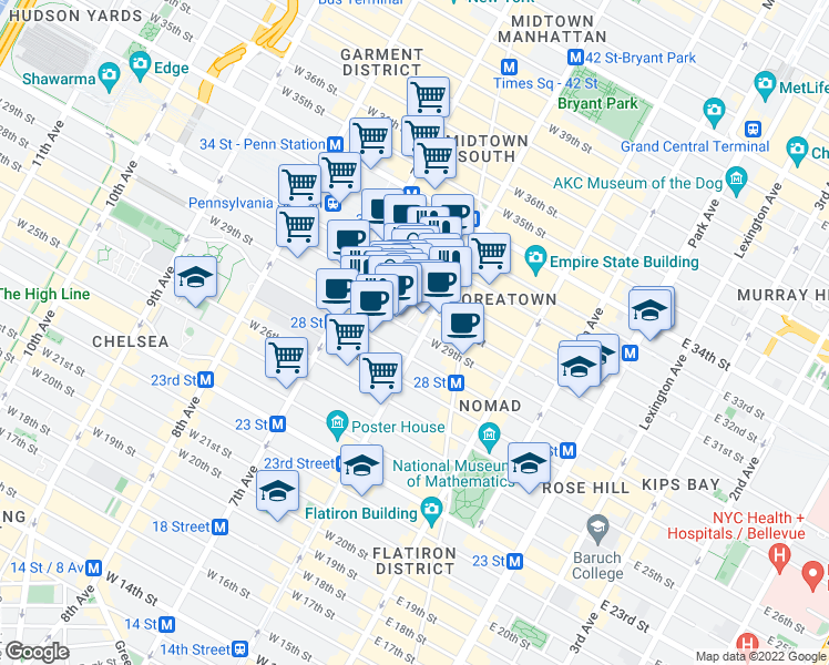 map of restaurants, bars, coffee shops, grocery stores, and more near 105 West 29th Street in New York