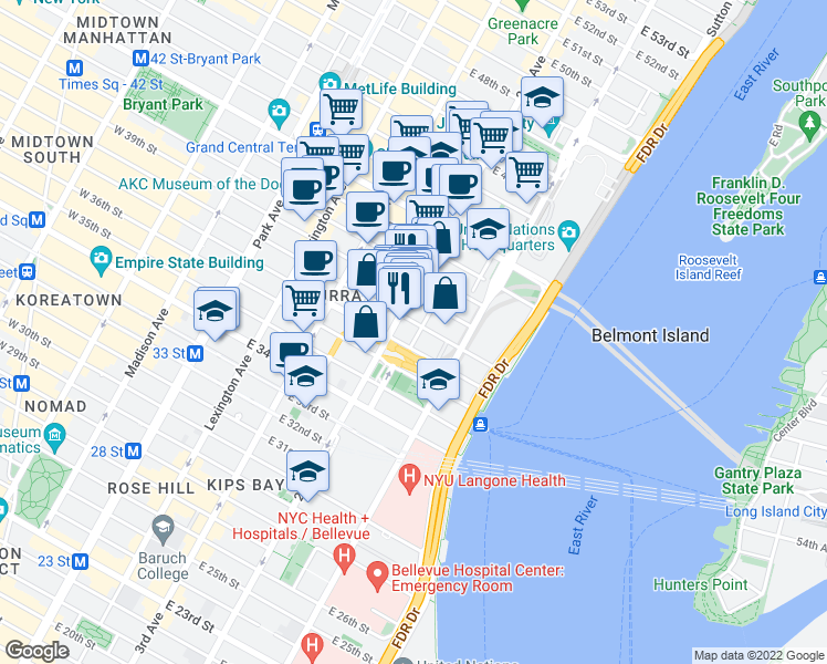 map of restaurants, bars, coffee shops, grocery stores, and more near 707 2nd Avenue in New York