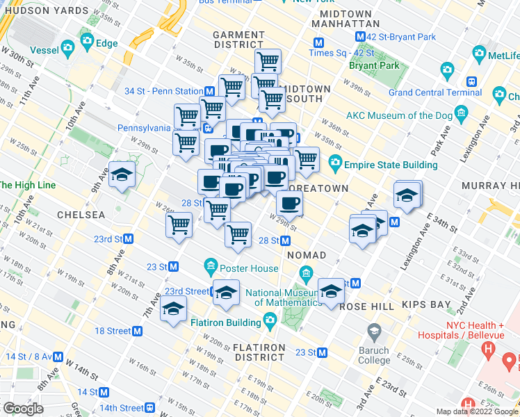map of restaurants, bars, coffee shops, grocery stores, and more near 120 West 30th Street in New York