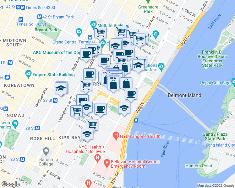 map of restaurants, bars, coffee shops, grocery stores, and more near 717 2nd Avenue in New York