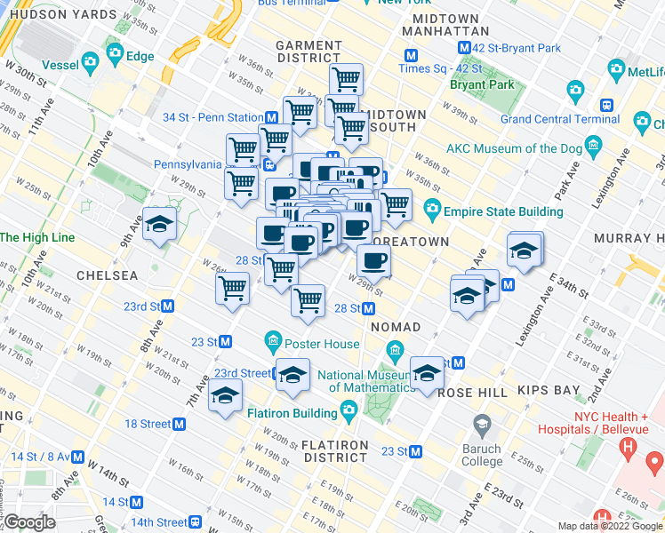 map of restaurants, bars, coffee shops, grocery stores, and more near 116 West 31st Street in New York