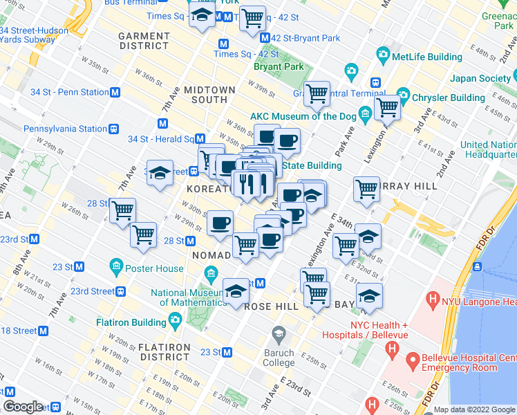 map of restaurants, bars, coffee shops, grocery stores, and more near 338-350 5th Avenue in New York
