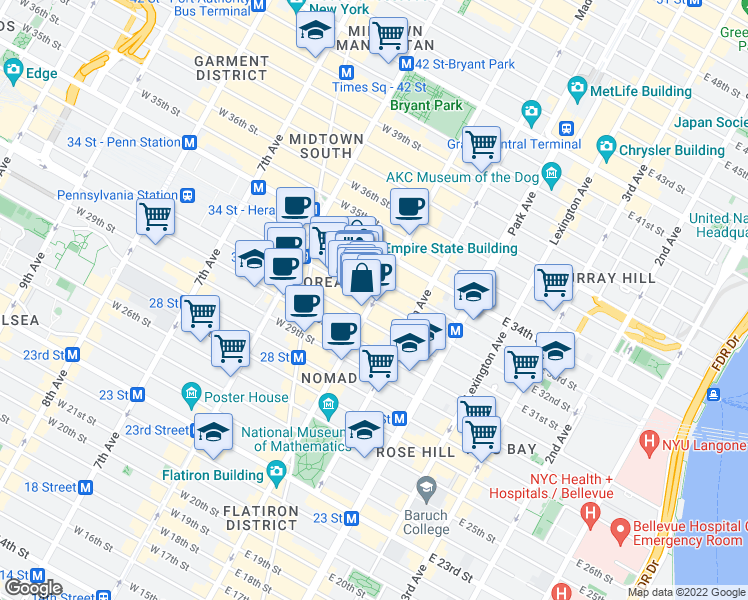 5th Ave & E 32nd St, New York NY - Walk Score  Th Avenue Shopping Map on