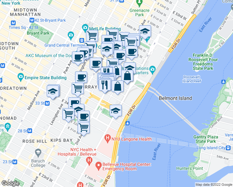 map of restaurants, bars, coffee shops, grocery stores, and more near 315-399 East 39th Street in New York