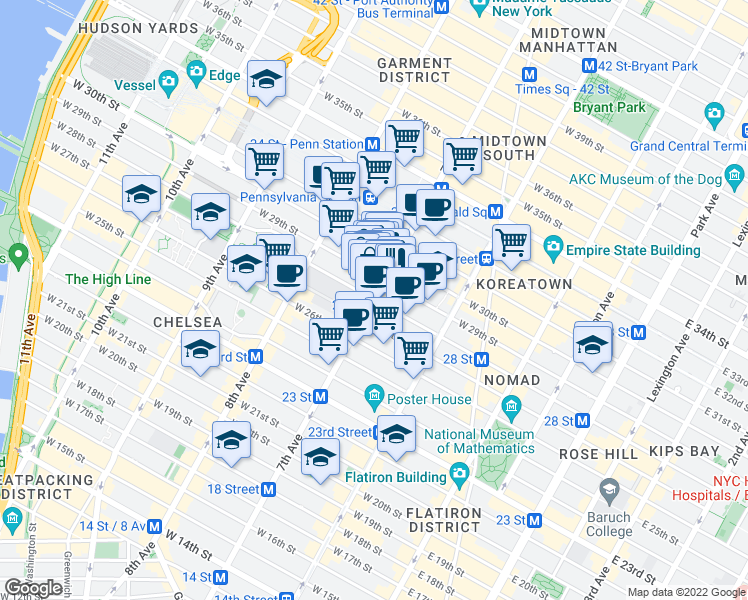 map of restaurants, bars, coffee shops, grocery stores, and more near 7th Ave & W 28th St in New York