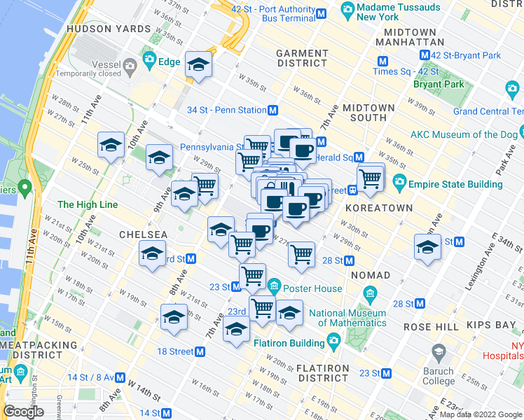map of restaurants, bars, coffee shops, grocery stores, and more near 322 7th Avenue in New York