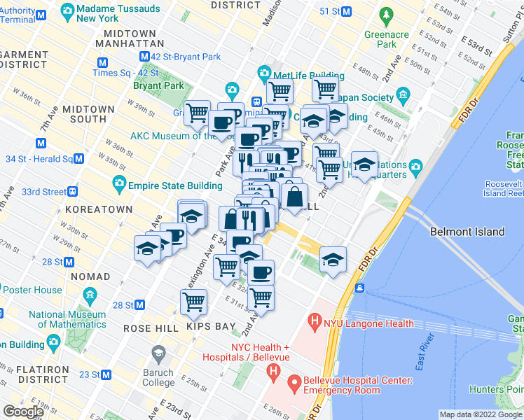 map of restaurants, bars, coffee shops, grocery stores, and more near East 37th Street in New York