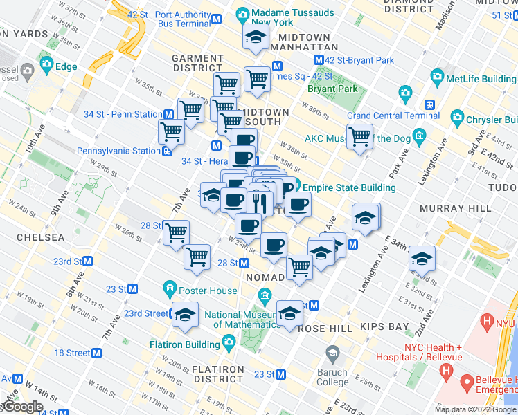 map of restaurants, bars, coffee shops, grocery stores, and more near 1250 Broadway in New York