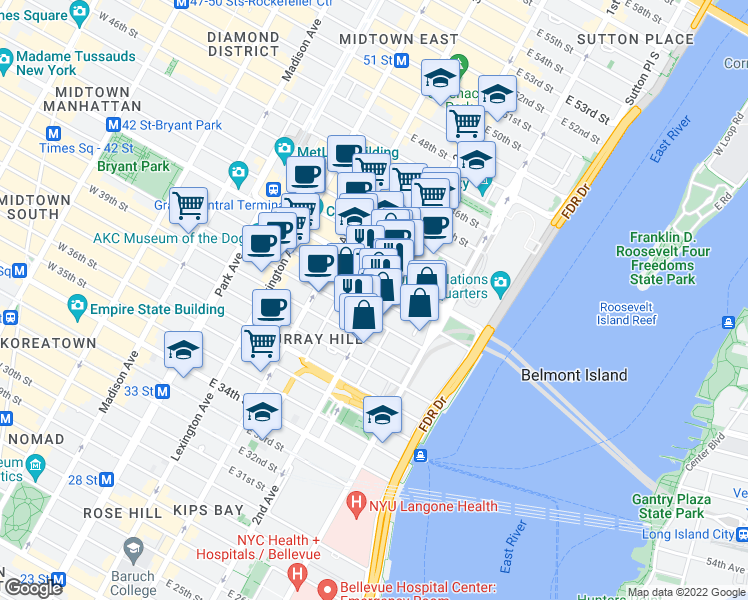 map of restaurants, bars, coffee shops, grocery stores, and more near 245 East 40th Street in New York