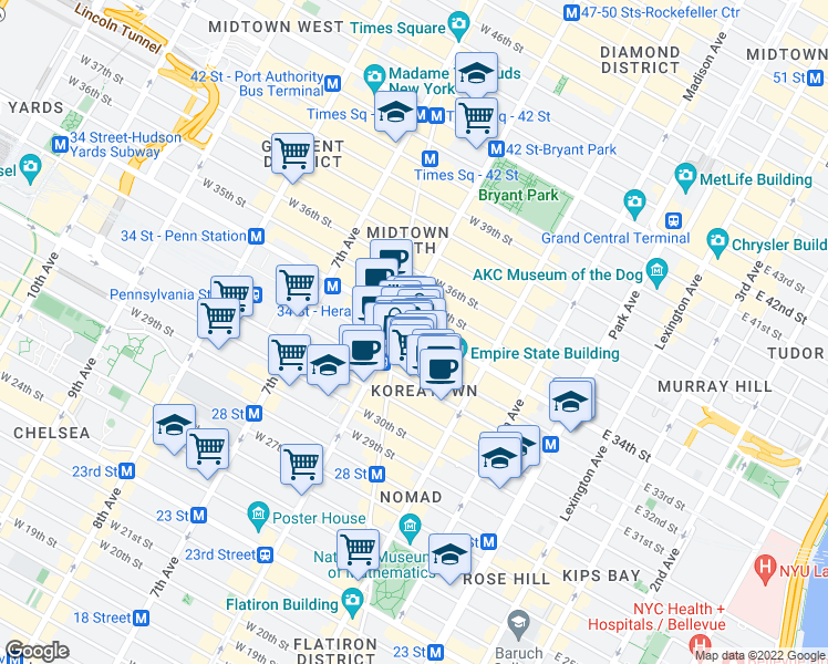 map of restaurants, bars, coffee shops, grocery stores, and more near 49 West 33rd Street in New York