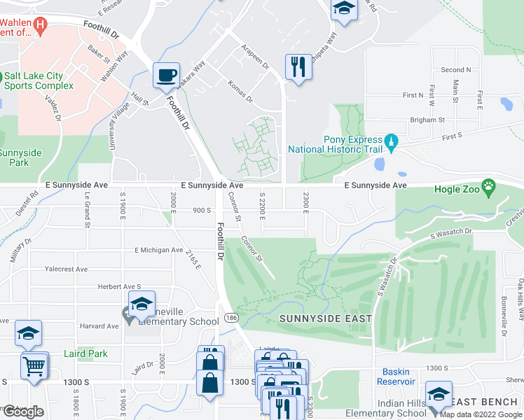 map of restaurants, bars, coffee shops, grocery stores, and more near South 2200 East in Salt Lake City