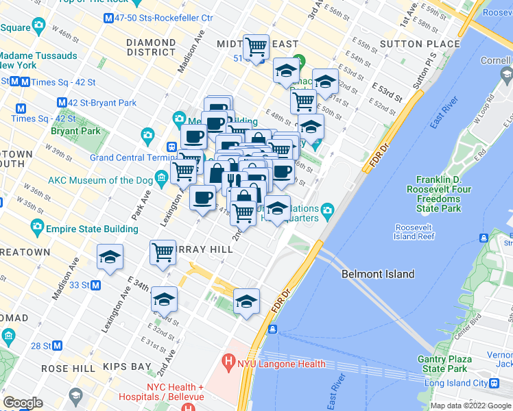 map of restaurants, bars, coffee shops, grocery stores, and more near 232 East 43rd Street in New York