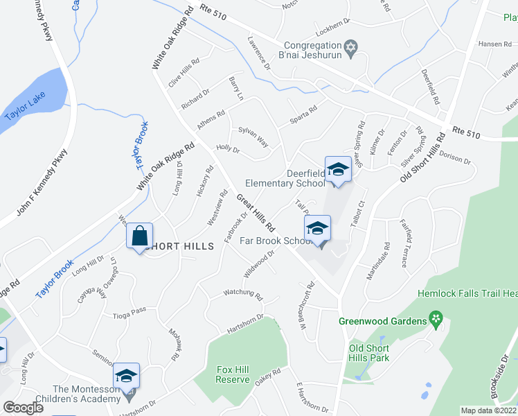 map of restaurants, bars, coffee shops, grocery stores, and more near 2 Troy Drive in Millburn