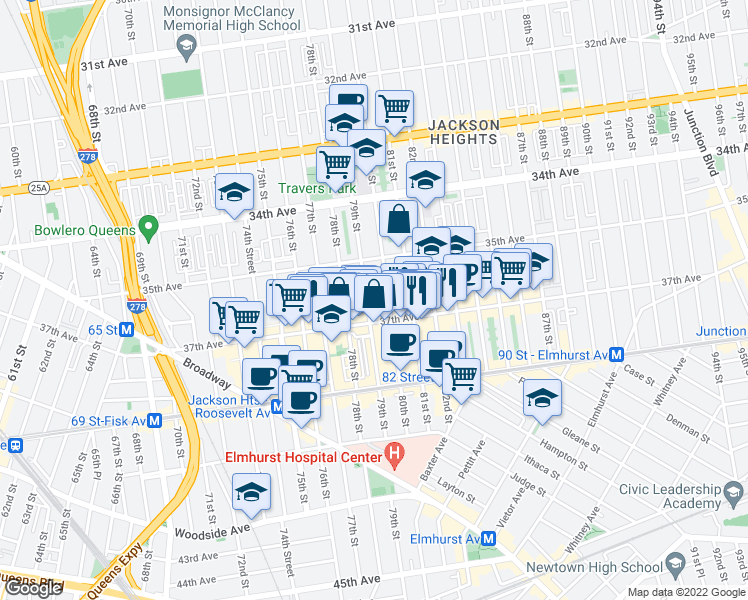 map of restaurants, bars, coffee shops, grocery stores, and more near 35-45 79th Street in Queens