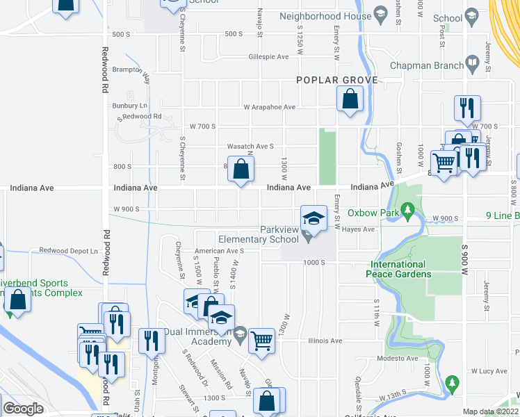 map of restaurants, bars, coffee shops, grocery stores, and more near Navajo Street in Salt Lake City
