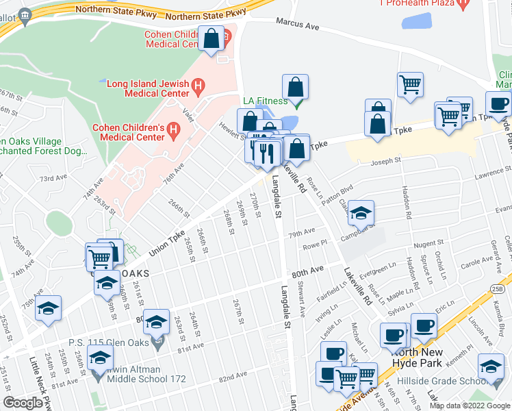 map of restaurants, bars, coffee shops, grocery stores, and more near 269-07 78th Avenue in Queens