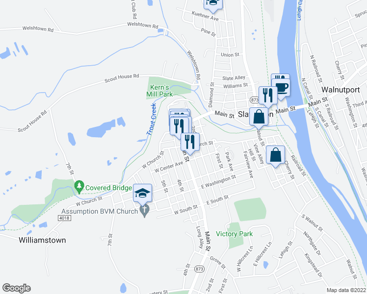 map of restaurants, bars, coffee shops, grocery stores, and more near 223-299 East Church Street in Slatington