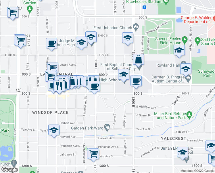 map of restaurants, bars, coffee shops, grocery stores, and more near 1150 Sunnyside Avenue in Salt Lake City