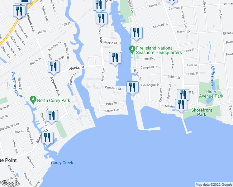 map of restaurants, bars, coffee shops, grocery stores, and more near 16 Mainsail Drive in Patchogue