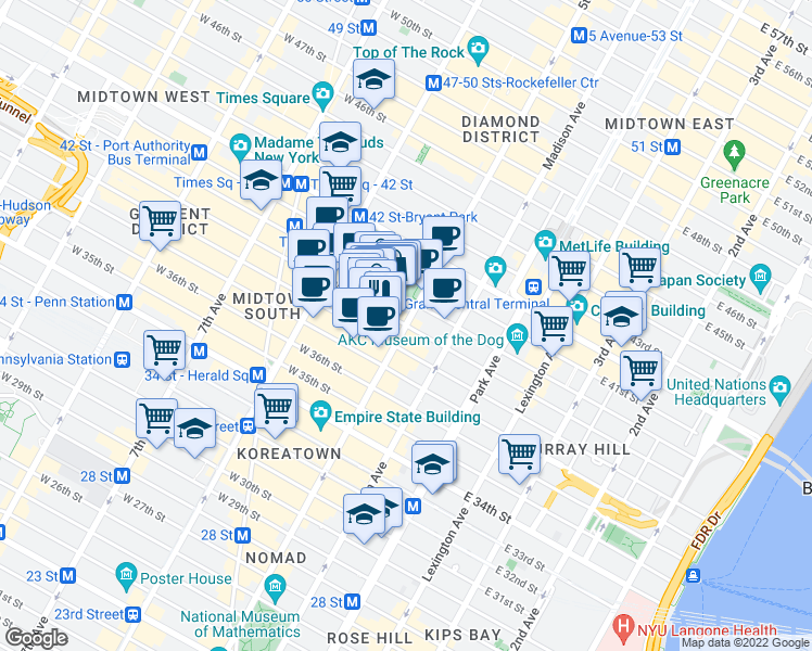 map of restaurants, bars, coffee shops, grocery stores, and more near 1-13 West 39th Street in New York