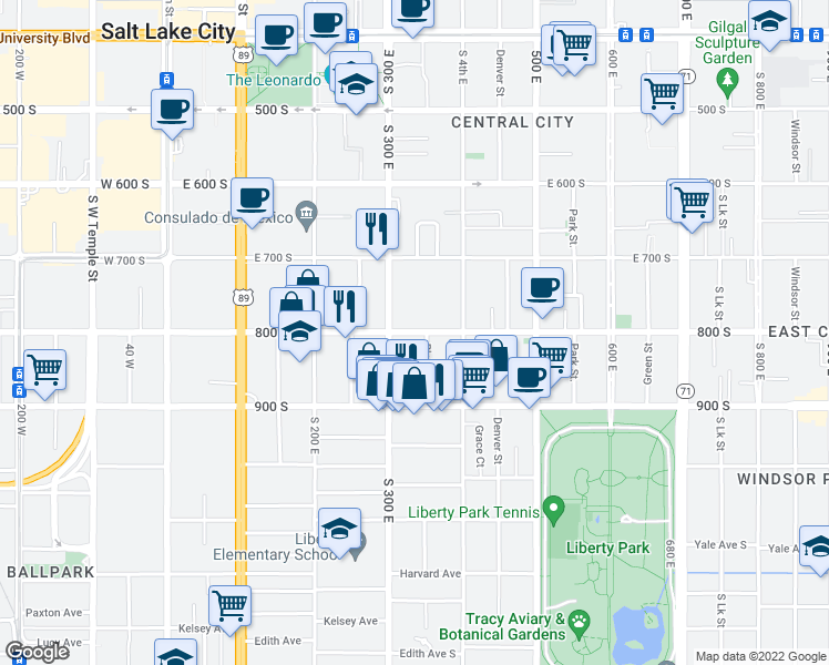 map of restaurants, bars, coffee shops, grocery stores, and more near 320 E 800 S in Salt Lake City