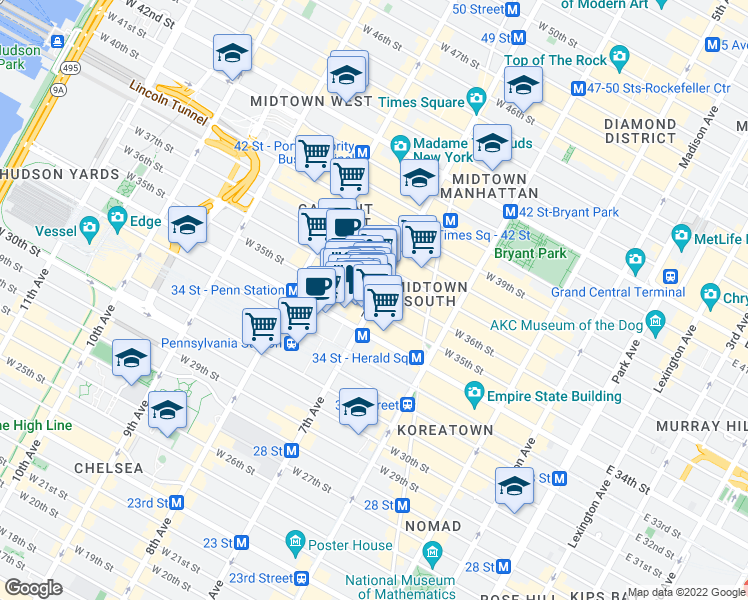map of restaurants, bars, coffee shops, grocery stores, and more near 209 West 35th Street in New York