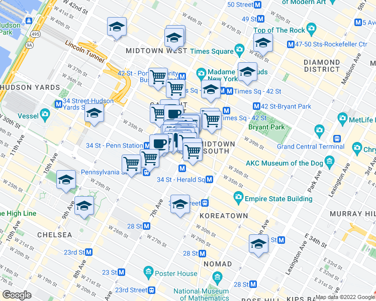 map of restaurants, bars, coffee shops, grocery stores, and more near 445-451 7th Avenue in New York
