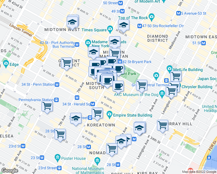 map of restaurants, bars, coffee shops, grocery stores, and more near 1010 6th Avenue in New York