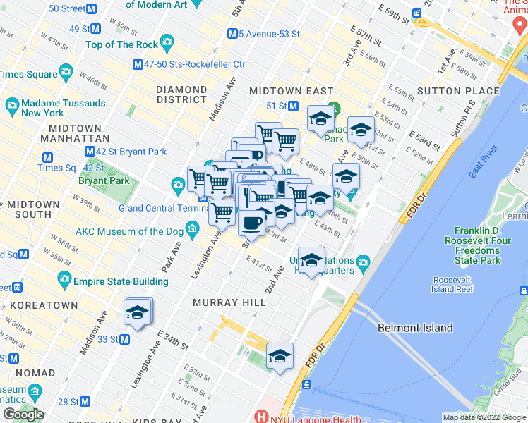 map of restaurants, bars, coffee shops, grocery stores, and more near 3rd Ave & E 44th St in New York
