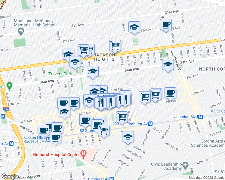 map of restaurants, bars, coffee shops, grocery stores, and more near 85th Street in Queens