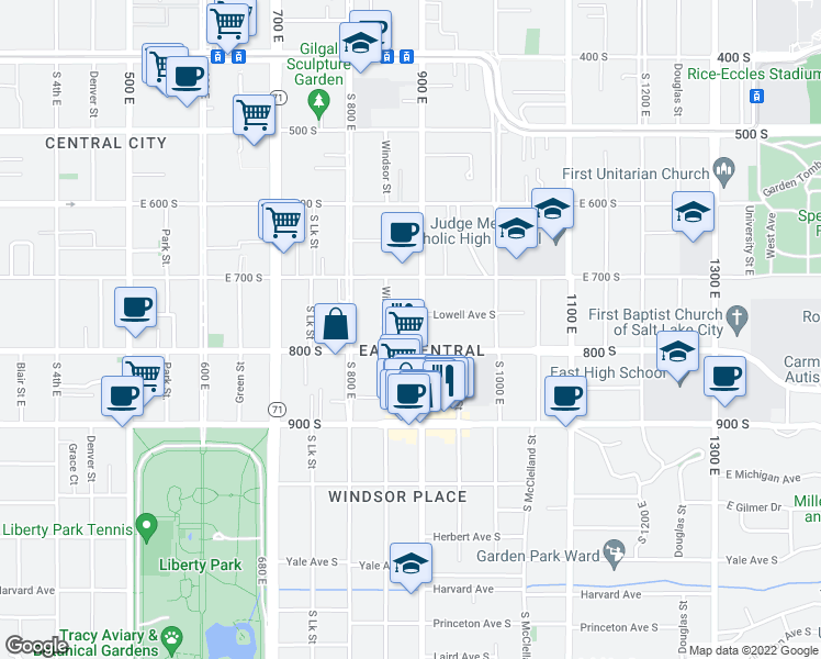 map of restaurants, bars, coffee shops, grocery stores, and more near 760 South 900 East in Salt Lake City
