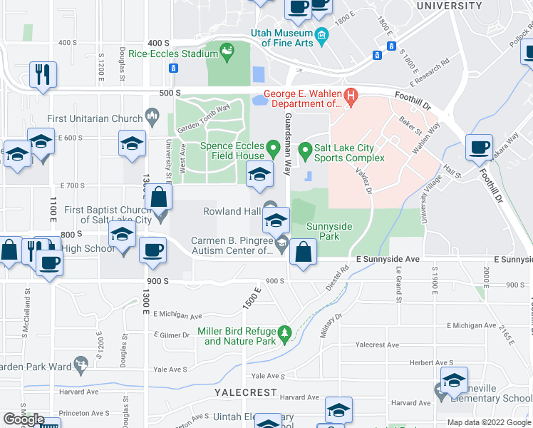 map of restaurants, bars, coffee shops, grocery stores, and more near 720 Guardsman Way in Salt Lake City
