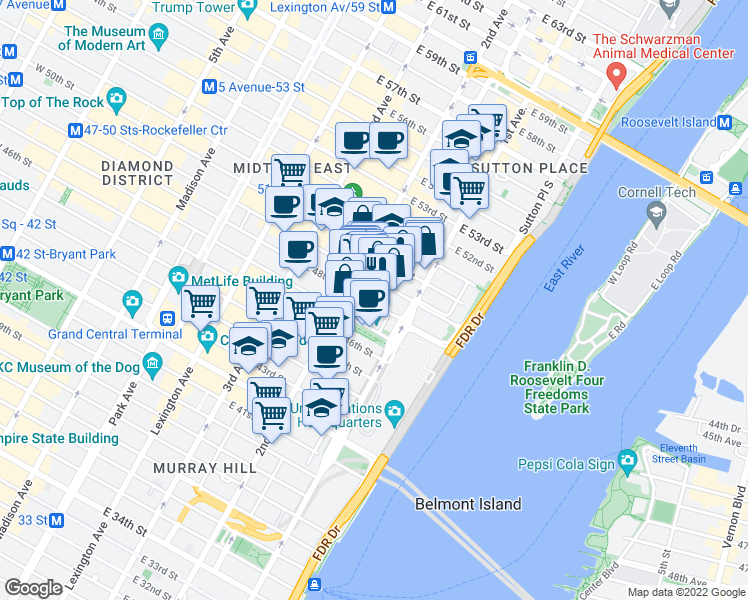 map of restaurants, bars, coffee shops, grocery stores, and more near 321 East 48th Street in New York