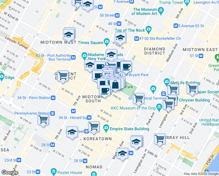 map of restaurants, bars, coffee shops, grocery stores, and more near 1052 6th Ave in New York