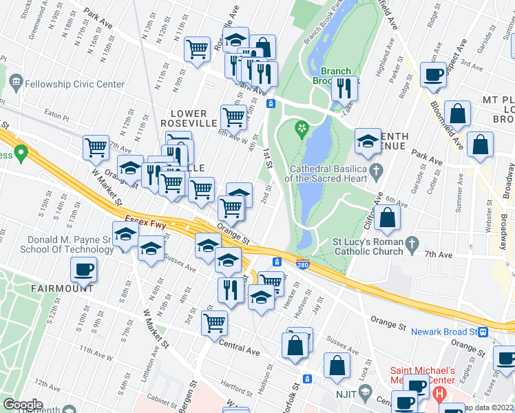 map of restaurants, bars, coffee shops, grocery stores, and more near 308 7th Avenue West in Newark