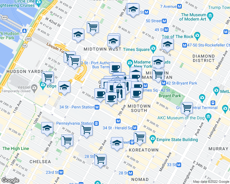 map of restaurants, bars, coffee shops, grocery stores, and more near 241 West 37th Street in New York