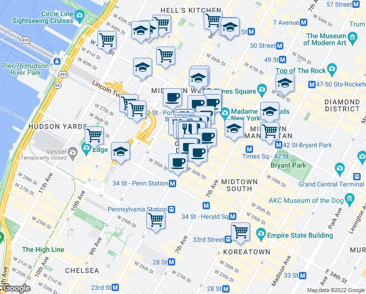 map of restaurants, bars, coffee shops, grocery stores, and more near 305 West 38th Street in New York