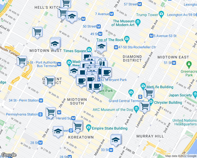 map of restaurants, bars, coffee shops, grocery stores, and more near West 42nd Street in New York