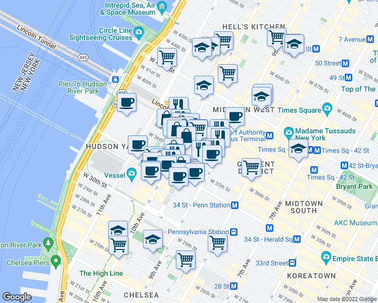 map of restaurants, bars, coffee shops, grocery stores, and more near 500 West 37th Street in New York