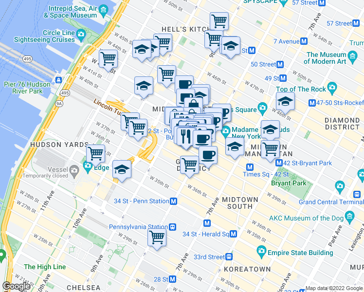 map of restaurants, bars, coffee shops, grocery stores, and more near 301-369 West 40th Street in New York