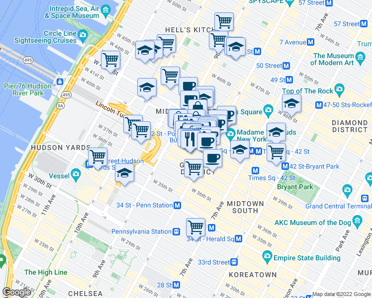 map of restaurants, bars, coffee shops, grocery stores, and more near 310 West 40th Street in New York